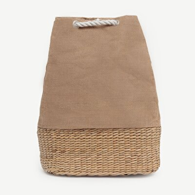 Large Jute Backpack With Straw Bottom