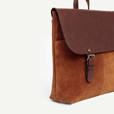 Two Tone Suede Backpack With Leather Flap