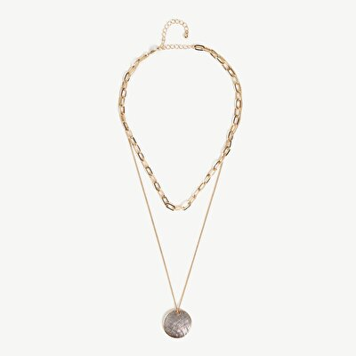 Doublerow Chain Necklace With Shell Pendant