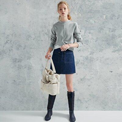 Pocket Detailed Denim Skirt