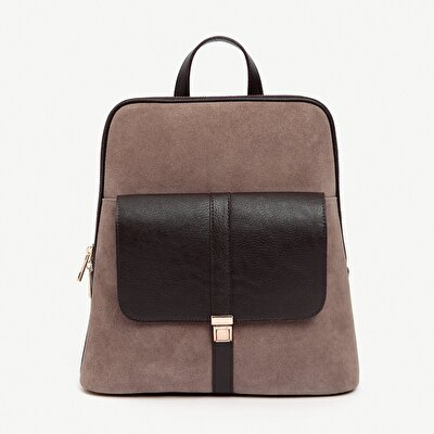 Suede Leather Detailed Backpack With Pocket