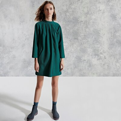 Swan Neck 3/4 Sleeve Dress