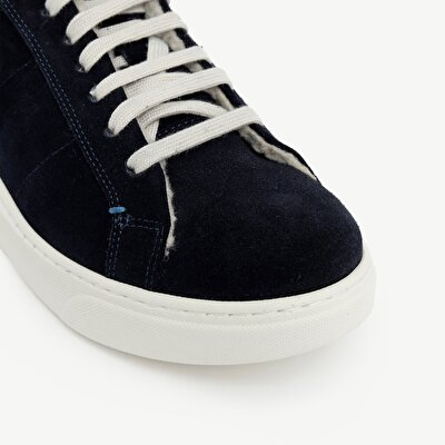 Suede Sneaker With Fur Lining And Striped Ribbon Detail